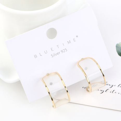 Simple and stylish temperament real gold-plated personality wild half month S925 silver earrings NHPS185038's discount tags