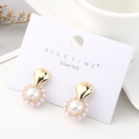 Retro fashion plated real gold simple creative wild pearl flower S925 silver earrings NHPS185045's discount tags