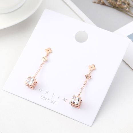 Fashion Four Leaf Cube Sugar Plated Real Gold Tassel S925 Silver Earrings NHPS185047's discount tags