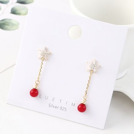 Star-plated real gold wild fashion ball S925 silver earrings NHPS185048's discount tags
