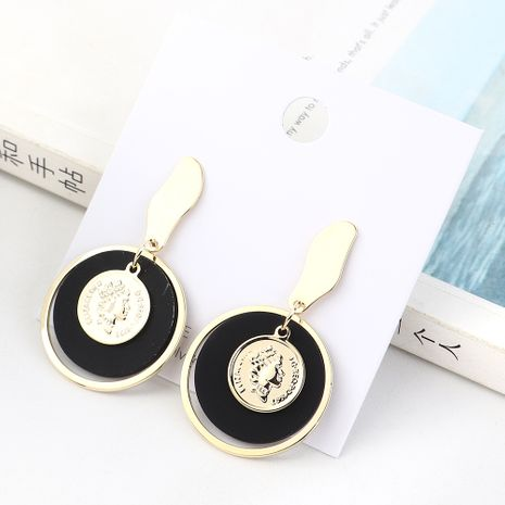 Korean retro gold plated head seal frosted large circle S925 silver earrings NHPS185049's discount tags