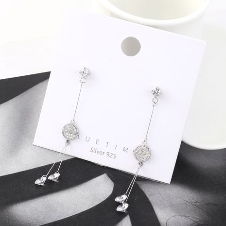 Korean fashion real gold plated wild tassel small round fan S925 silver earrings NHPS185054's discount tags