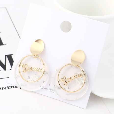 Fashion Gold Plated Creative Letters Circle S925 Silver Earrings NHPS185056's discount tags