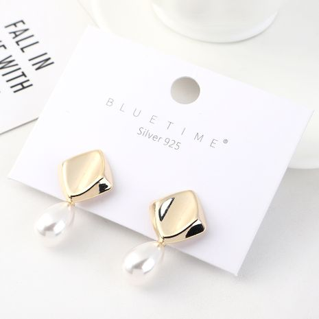 Korean earrings simple creative small fresh gold plated wild retro pearl S925 silver earrings NHPS185057's discount tags