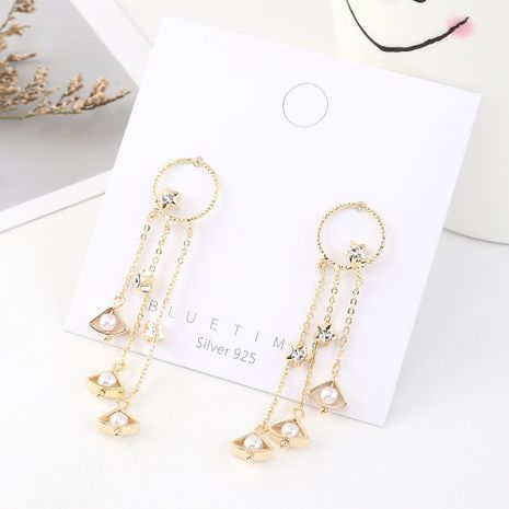 earrings wholesale retro fashion real gold plated wild star curtain pearl tassel S925 silver earrings NHPS185061's discount tags