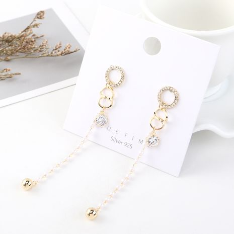 Korean earrings wholesale fashion vintage gold plated long circle small fringed pearl S925 silver earrings NHPS185062's discount tags