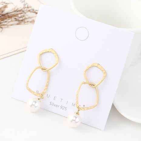 earrings wholesale retro simple fashion gold plated hollow pearl S925 silver earrings NHPS185063's discount tags