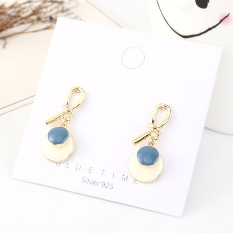 Korean earrings wholesale fashion gold plated disc oil S925 silver earrings NHPS185069's discount tags