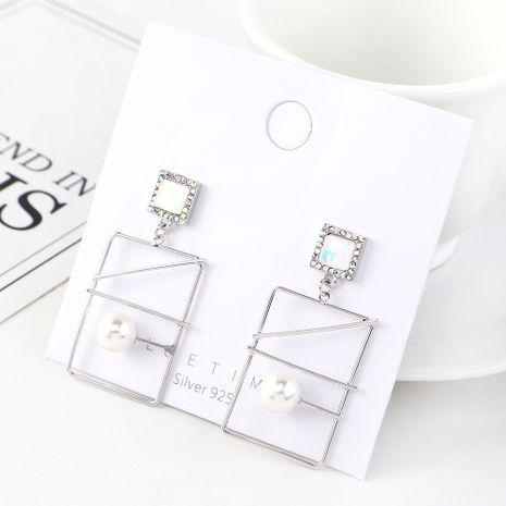 Korean earrings wholesale retro gold plated fashion rectangular hollow crystal glass S925 silver earrings NHPS185071's discount tags