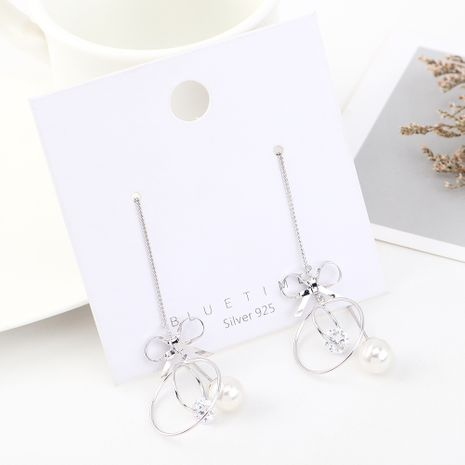 fashion earrings wholesale long gold-plated tassel bow circle S925 silver earrings NHPS185073's discount tags