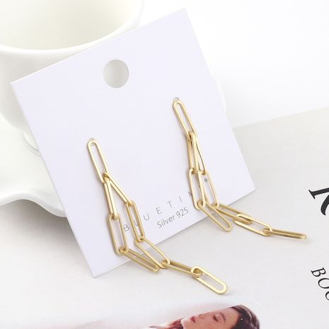 Fashion earrings wholesale real gold plated hollow chain S925 silver earrings NHPS185078's discount tags