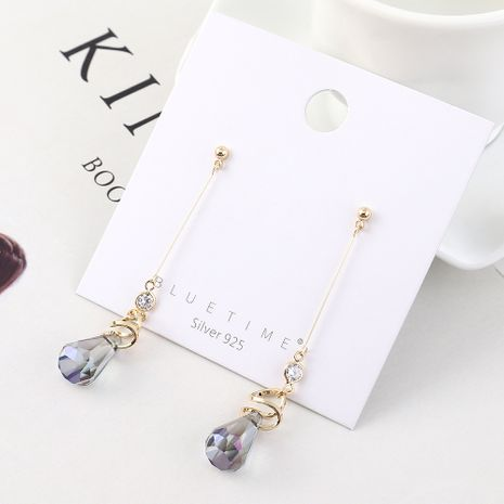 Fashion earrings wholesale gold-plated glass tassel S925 silver earrings NHPS185079's discount tags