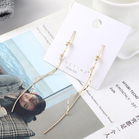 Fashion earrings wholesale long gold-plated spiral tassel S925 silver earrings NHPS185080's discount tags