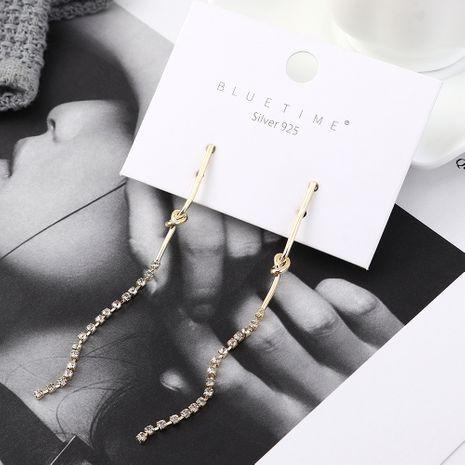 Korean earrings wholesale simple fashion long gold-plated crystal tassels S925 silver earrings NHPS185081's discount tags