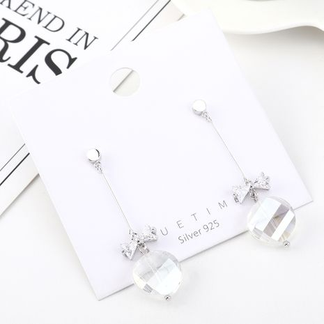 earrings wholesale tassel fashion gold-plated bow glass S925 silver earrings NHPS185077's discount tags