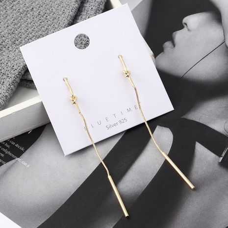 earrings wholesale long simple gold-plated small stick tassel S925 silver earrings NHPS185083's discount tags