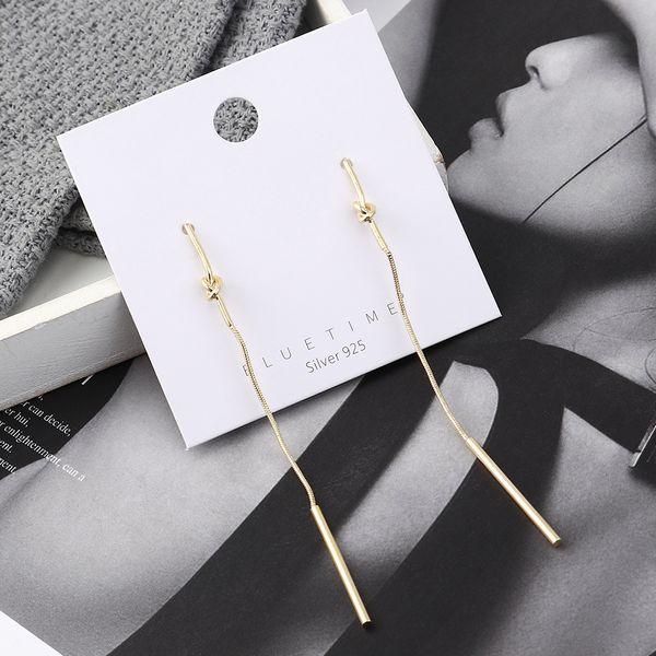earrings wholesale long simple gold-plated small stick tassel S925 silver earrings NHPS185083
