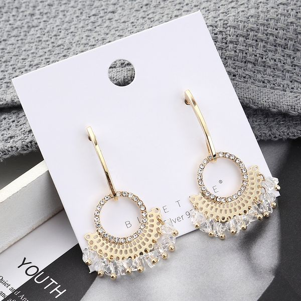 Fashion earrings wholesale real gold plated small fan circle S925 silver earrings NHPS185086