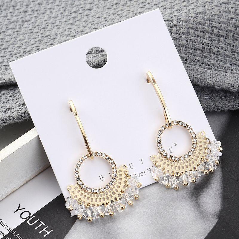 Pendientes de moda al por mayor chapado en oro real pequeño ventilador círculo S925 pendientes de plata NHPS185086