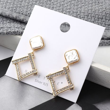 earrings wholesale real gold irregular square hollow S925 silver earrings NHPS185087's discount tags