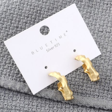 Fashion earrings wholesale cold wind plated real gold hollow S925 silver earrings NHPS185088's discount tags