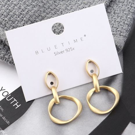 Fashion earrings wholesale real gold plated circle hollow S925 silver earrings NHPS185089's discount tags