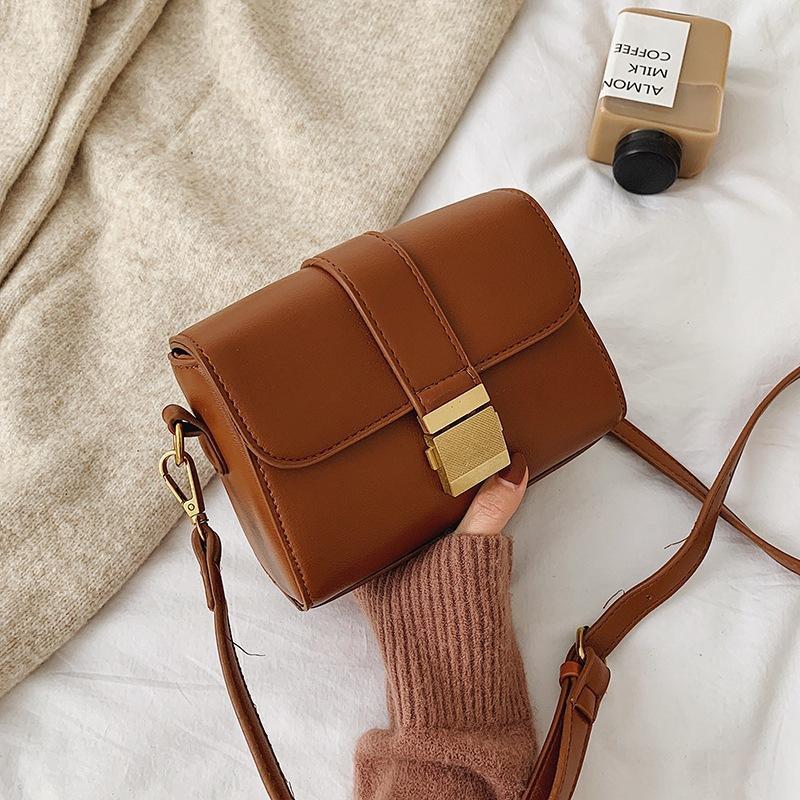 New Fashion Messenger Bag Women Simple Retro Wild Lock One Shoulder Small Square Bag NHPB185176