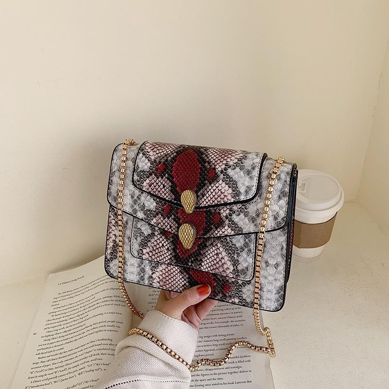 Nuevo patrón de piel de serpiente bolso de cuerpo cruzado portátil textura moda bolso de cadena de hombro salvaje mujer NHTC185297