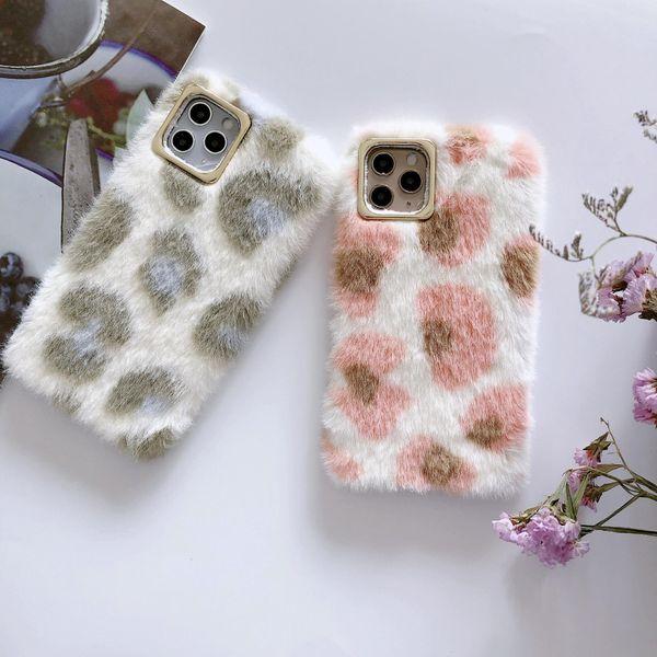 Autumn and winter plush leopard pattern Apple XSMAX mink fur 11pro mobile phone case NHHC184794