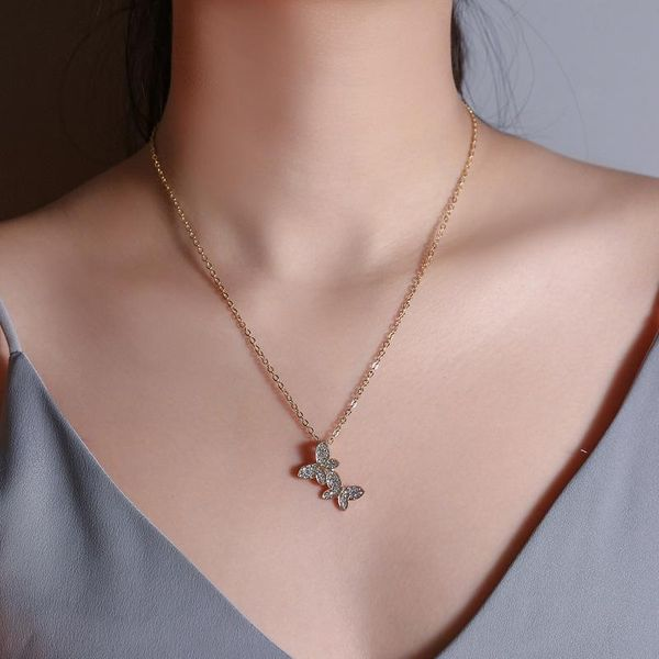 Korean new jewelry full diamond butterfly necklace female simple clavicle chain jewelry wholesale NHDP185758