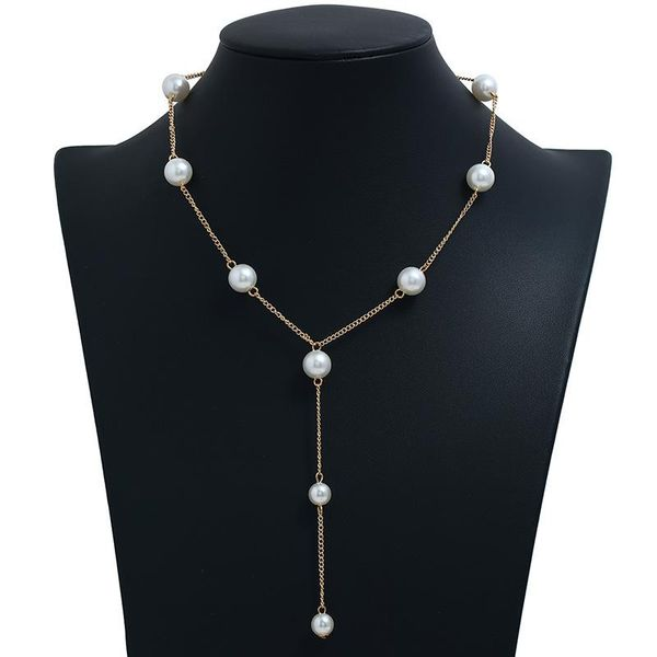 Pearl chain long necklace sweater chain fashion Korean winter pearl necklace NHBQ185429