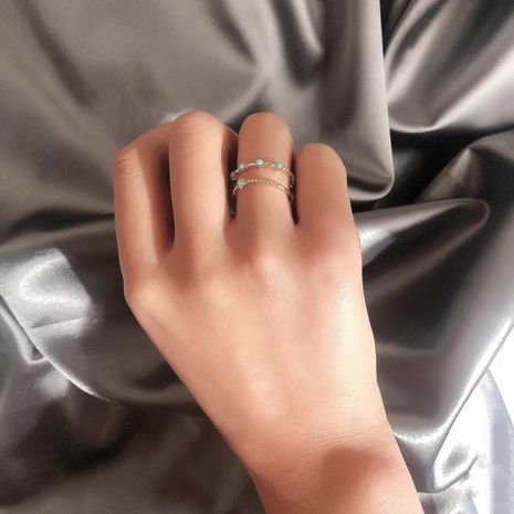 Bracelet à la mode double couche simple diamant ouverture réglable bague NHDP185755's discount tags