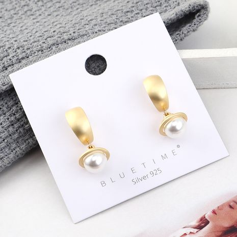 fashion earrings wholesale real gold plated small pearl S925 silver earrings NHPS185102's discount tags