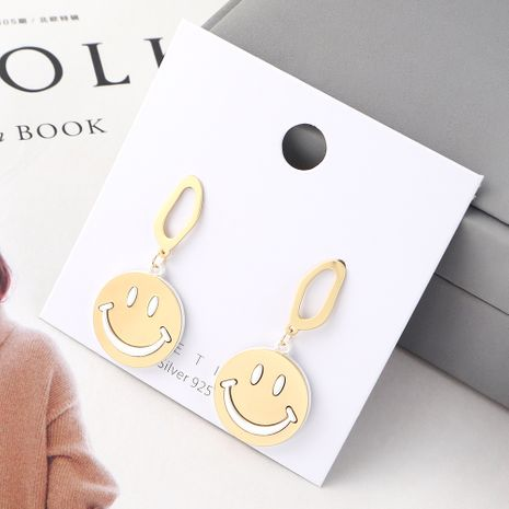 earrings wholesale Real Gold Plated Frosty Smiley Doll S925 Silver earrings NHPS185110's discount tags