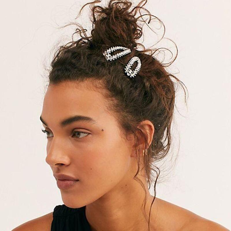 Pinzas para el cabello simples Accesorios para el cabello con diamantes completos NHMD185470