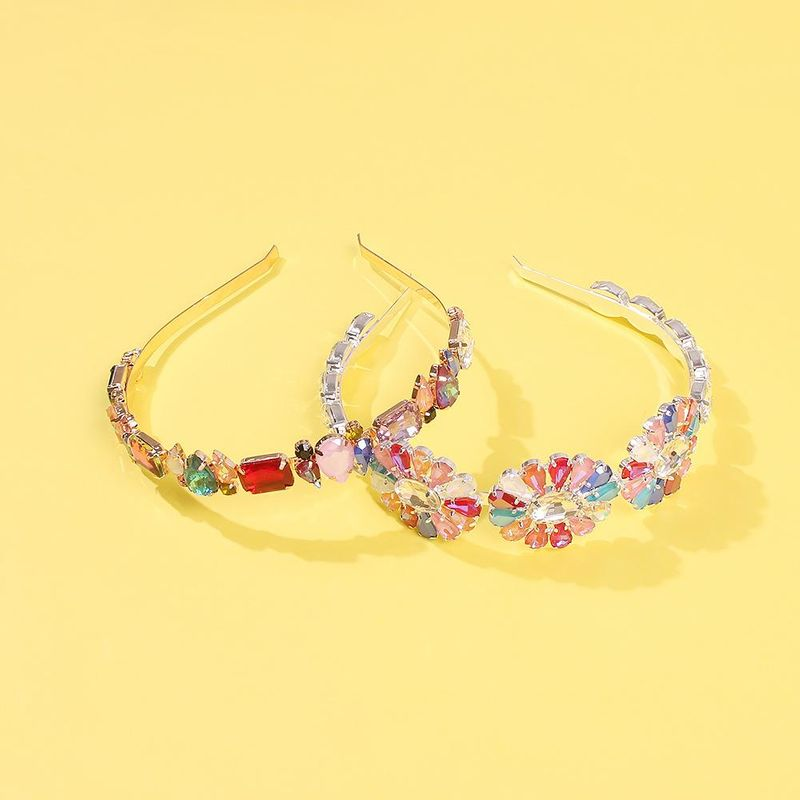Alloy diamond super flashing glass diamond flower headband female headband headdress NHMD185486