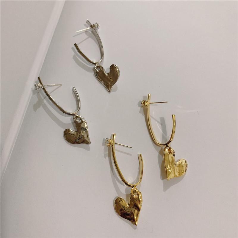 Vintage Love Rhinestone Ear Hoop Temperament Design Female Earrings 925 Silver Earrings NHYQ185689