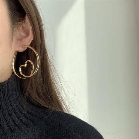 Big heart earrings hollow C word love earrings women NHYQ185706's discount tags