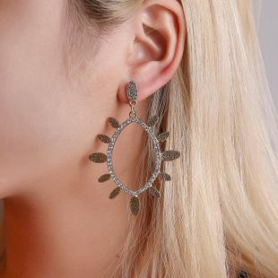 New Earrings Simple Elliptical Geometric Stud Earrings Fashion Sun Flower Water Drop Hollow Diamond Earrings NHDP185739's discount tags