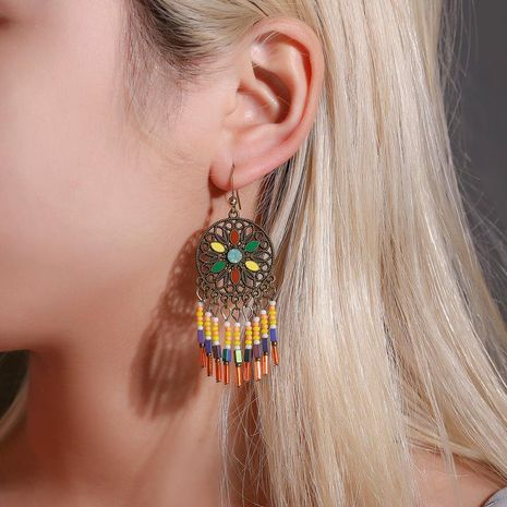 Jewelry color carved multilayer bead tassel earrings female retro court style hollow pattern earrings NHDP185742's discount tags