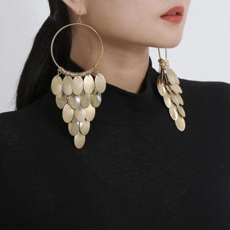 Jewelry Geometric Hollow Ring Earrings Metal Disc Tassel Long Stud Earrings NHXR185510's discount tags