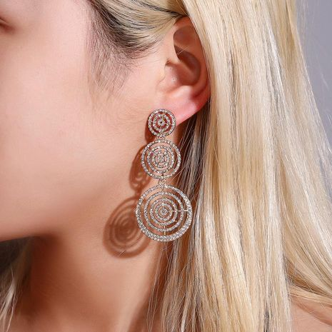 wholesale new earrings exaggerated full diamond multilayer circle earrings female long round hollow earrings NHDP185737's discount tags