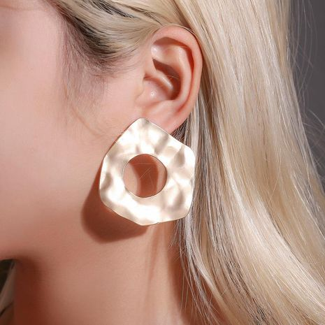 New earrings wholesale simple geometric irregular earrings cold wind retro round Asian gold hollow earrings NHDP185738's discount tags