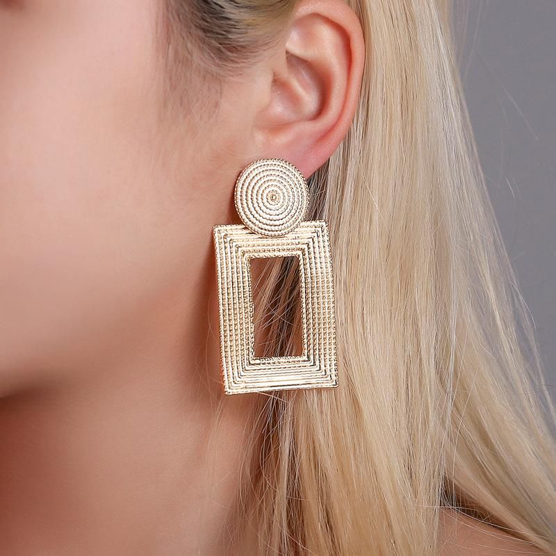 New earrings wholesale metal grain square earrings rectangular hollow earrings women NHDP185745