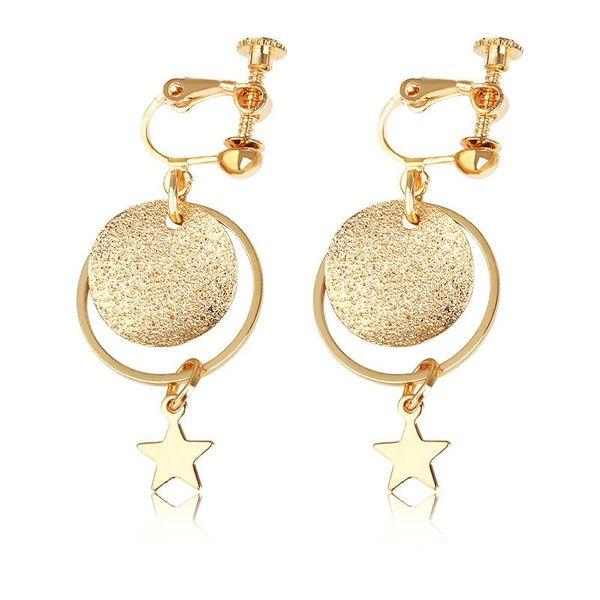 Handmade glitter frosted pentagram star earrings geometric circle long earrings ear clips wholesale NHDP185748