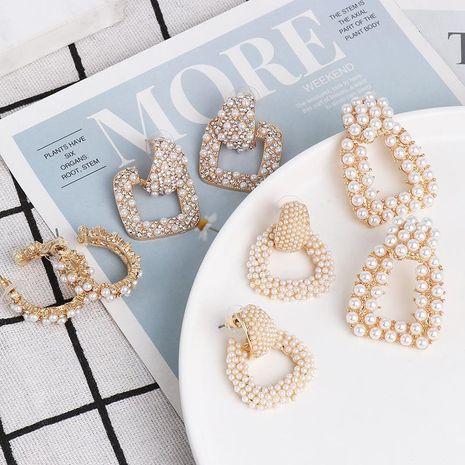 Geometric Earrings Pearl Alloy Diamond Earrings NHJJ185396's discount tags