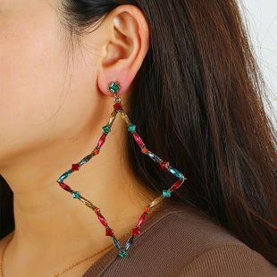 Simple diamond earrings wholesale wild style crystal geometric earrings wholesale NHKQ185452's discount tags