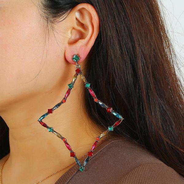 Simple diamond earrings wholesale wild style crystal geometric earrings wholesale NHKQ185452