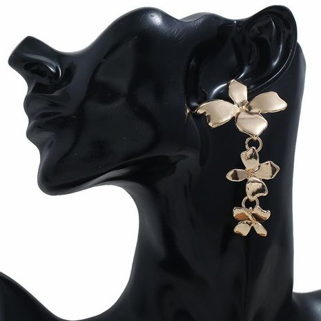 Fashion alloy flowers connected long earrings fashion creative earrings women NHBQ185423's discount tags