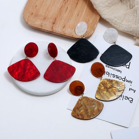 Fashion geometric fan-shaped resin earrings wholesale multi-color fashion creative earrings women NHBQ185426's discount tags